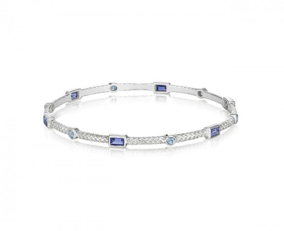 Sterling Silver Burlap 3mm Bangle with Faceted Baguette Iolite and Round Blue Topaz