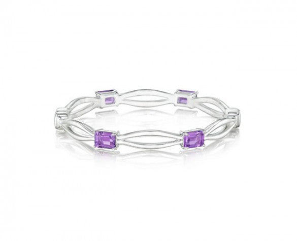 Hinged Bangle in Sterling Silver with Four Emerald-Cut Amethyst in 7mm Wide