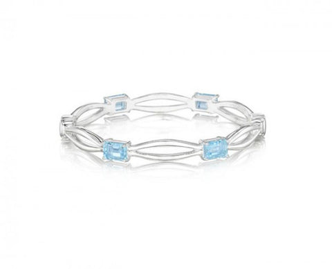 Hinged Bangle in Sterling Silver with Four Emerald-Cut Blue Topaz in 7mm Wide