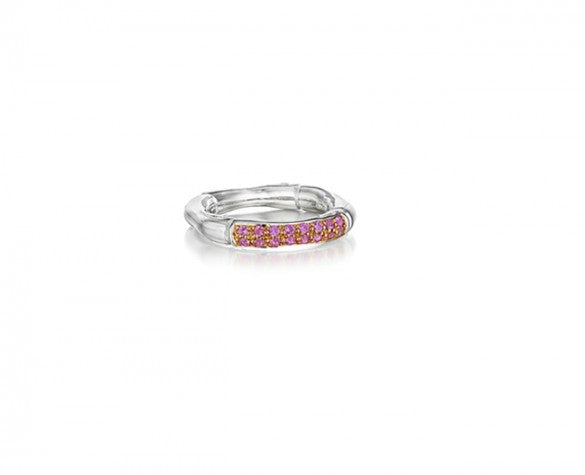 3mm Stacking Ring in Sterling Silver with pink Pave Sapphires