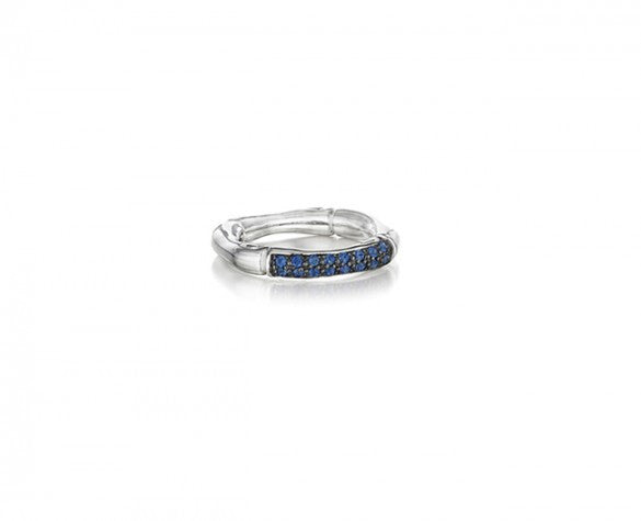 3mm Stacking Ring in Sterling Silver with Blue Pave Sapphires