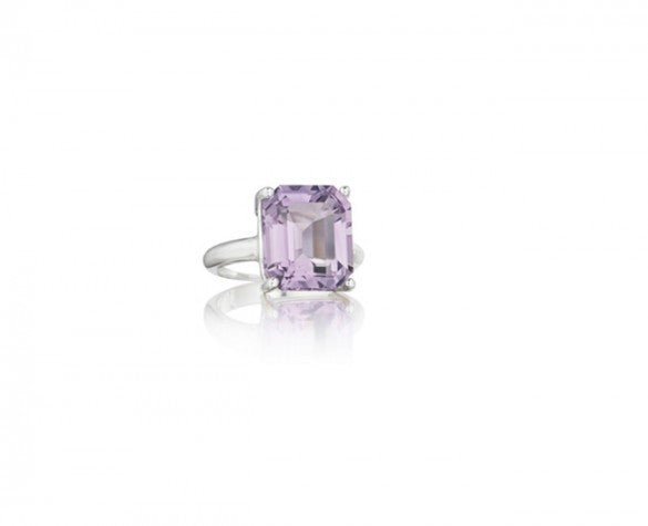 Sterling Silver Ring with an Emerald Cut Amethyst