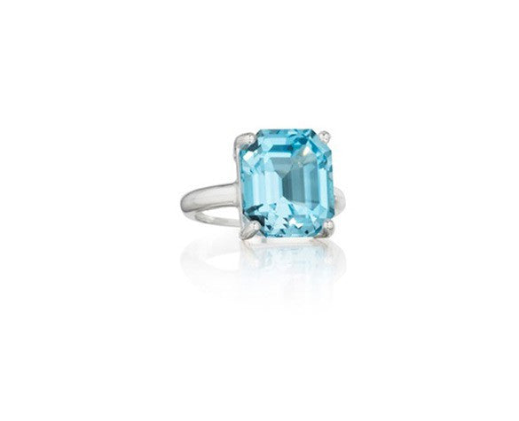 Sterling Silver Ring with an Emerald Cut Blue Topaz