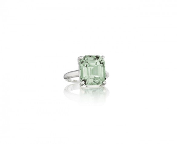 Sterling Silver Ring with an Emerald Cut Prasiolite