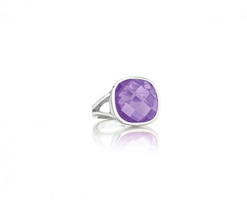 Etoiles Ring in Sterling Silver with a checkerboard cushion-cut Amethyst