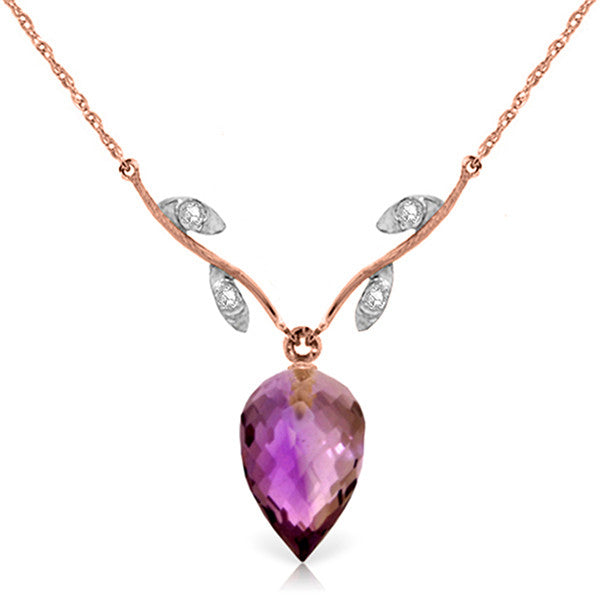 14KR Necklace with 0.02 ct of 4 Round Diamonds and an 9.50 ct Briolette Amethyst