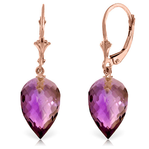 14KR 19 ctw Drop Briolette Amethyst Earrings