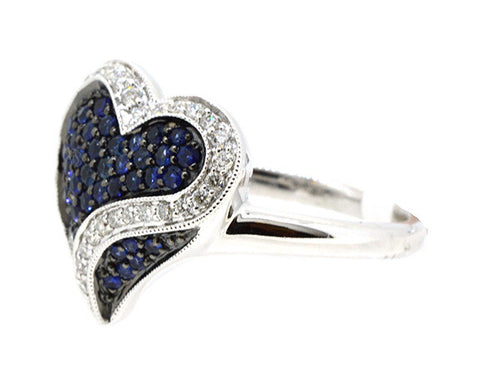14KWG 0.45ctw. Blue Sapphire 0.30ctw Diamonds Heart Design Ring