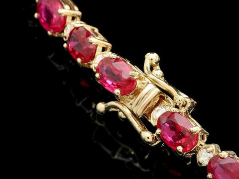 14KYG 17ct Ruby 0.75 Diamond Bracelet