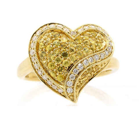 14K White Gold 0.45ct.tw. Yellow Sapphire 0.30 Diamond Heart Design Ring