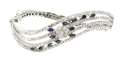 14KWG 1.28ct.tw Blue Sapphire 4.33ctw Diamond Bangle