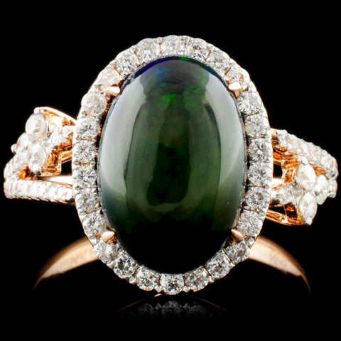 14K Rose Gold 2.00ct Opal and 0.55ctw Diamond Ring