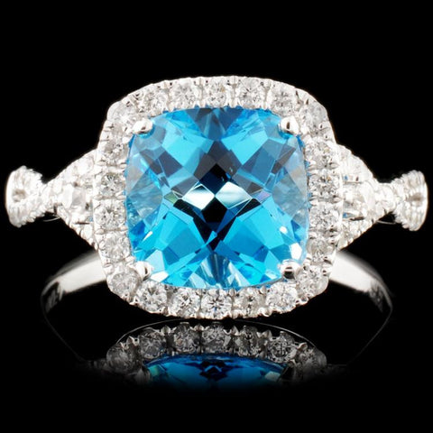 14K Gold 2.81ct Topaz 0.45ctw Diamond Ring