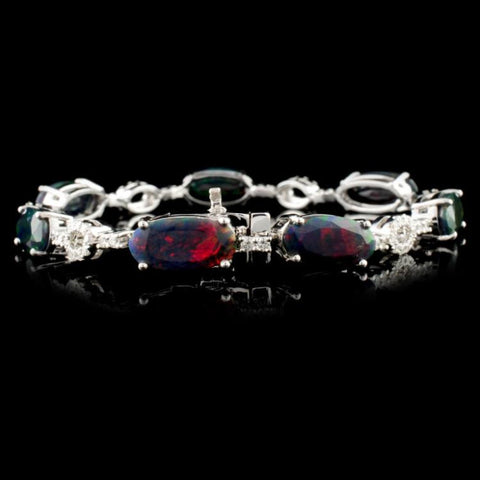 14K WHite Gold 8.86ctw Red/Green Opal & 1.10ctw Diamond Bracelet