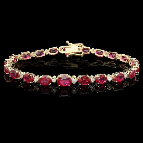 14K Yellow Gold 17.00 ctw Ruby and 0.75ctw Diamond Ladies Bracelet