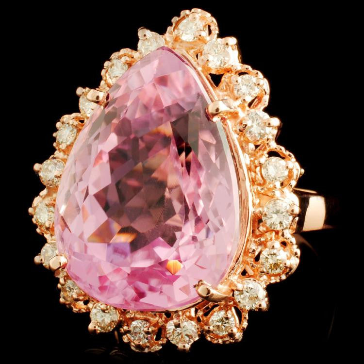 kunzite and diamond ring rose gold