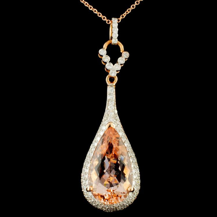 18K Gold 5.79ct Morganite & 1.02ctw Diamond Pendant