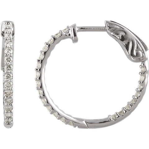 14KW 1/2 ctw Inside/Outside Diamond Hoop Earrings I1 H+