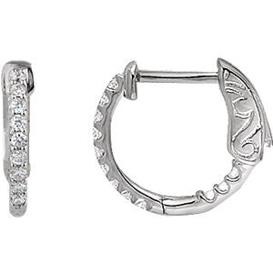 14KW 1/4 ctw Inside/Outside Diamond Hoop Earrings I1 H+