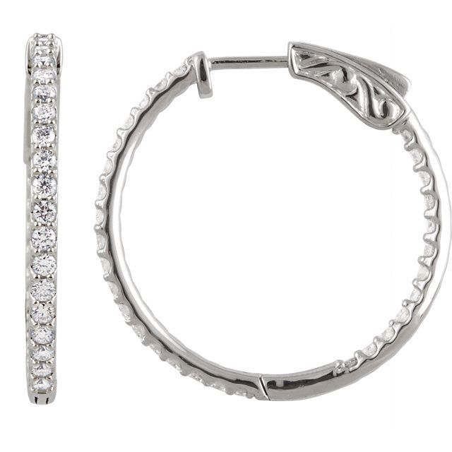 14KW 1 ctw Inside/Outside Diamond Hoop Earrings I1 H+