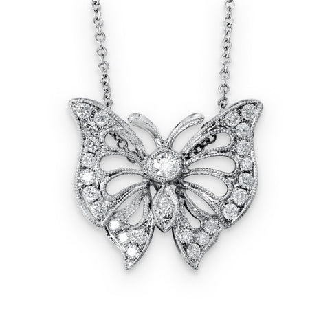 18KW Diamond Butterfly Pendant 0.30 ctw