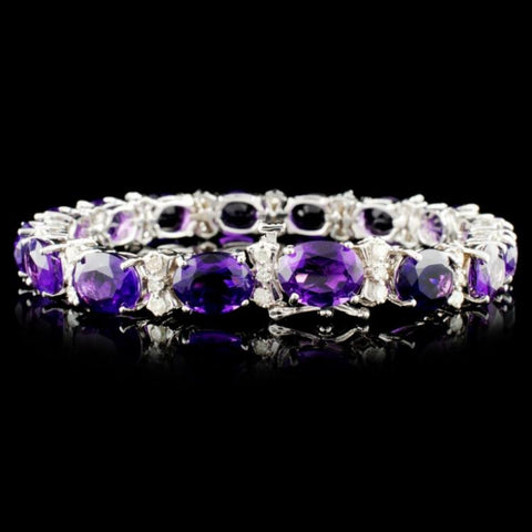 14K 26.60ctw Amethyst and 1.12ctw Diamond Bracelet