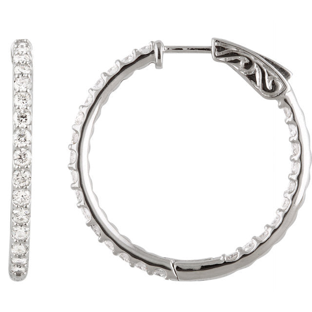 SS CZ 2 ctw Inside/Outside Prototype Hoop Earrings