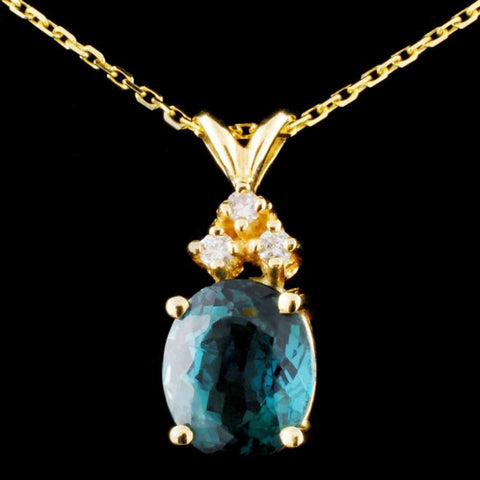 3.63ct Tourmaline and 0.11 ctw Diamond 14K Yellow Gold Ladies Pendant