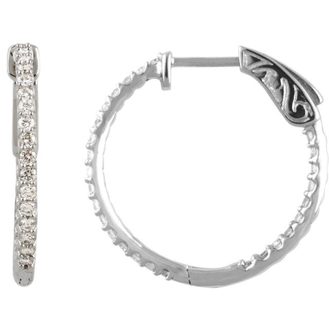 14KW 3/4 ctw Inside/Outside Diamond Hoop Earrings I1 H+