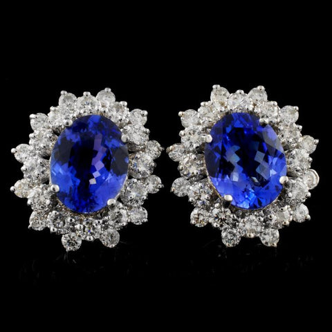 4.50 ct Tanzanite and 1.65 ctw Diamond 18K White Gold Ladies Earring Studs