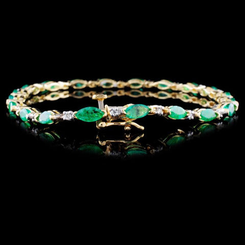 14K 5ct Emerald and .25ct Diamond Bracelet
