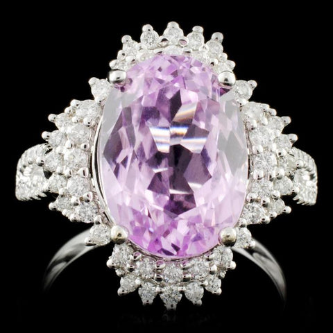 5.02 ct Kunzite and 0.69 ctw Diamond 14K White Gold Ladies Ring by Michael Christoff