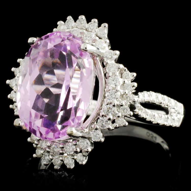 5.02 ct Kunzite and 0.69 ctw Diamond 14K White Gold Ring by Michael Christoff