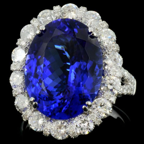 9.58 Tanzanite and 2.62 Diamond 18K White Gold Ladies Ring by Michael Christoff