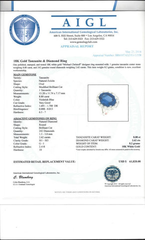 8.80 Tanzanite and 2.62 Diamond 18K White Gold Ring by Michael Christoff Appraisal