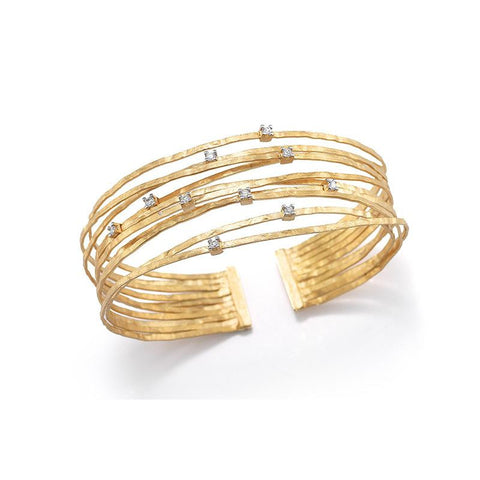 14KY MATTE-FINISHED MULTI-STRAND CUFF BRACELET WITH 0.30 CT OF PRONG SET SCATTERED DIAMONDS