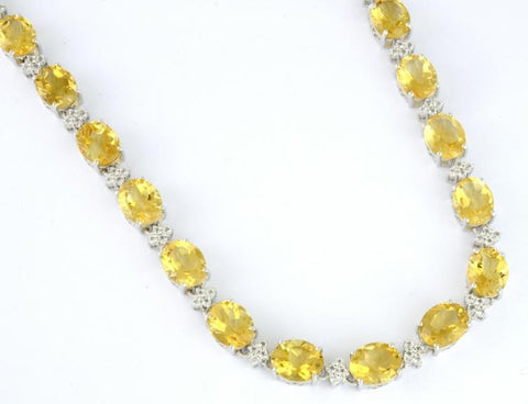 66.37 cts Citrine and 3.24 cts Colorless Topaz Sterling Silver Ladies Necklace by Orianne