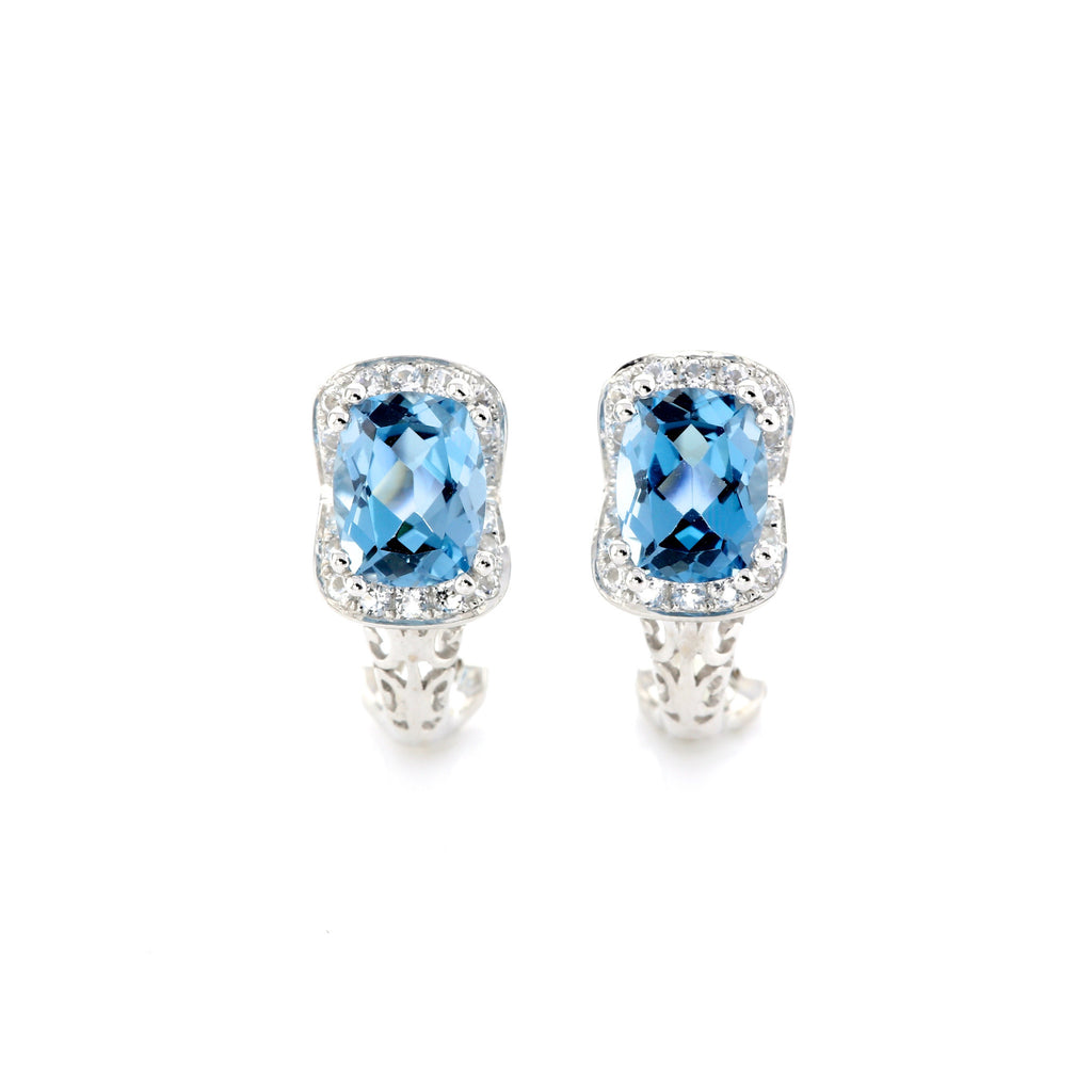 14KW 5.07ct blue topaz and 0.62ct diamond earrings