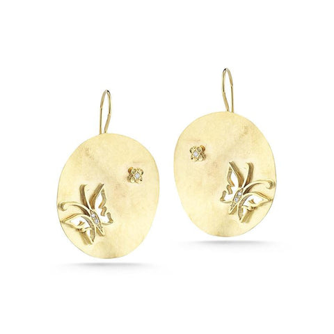 14KY MATTE-FINISHED BUTTERFLY EARRINGS WITH 0.02 CT OF BEZEL SET DIAMONDS