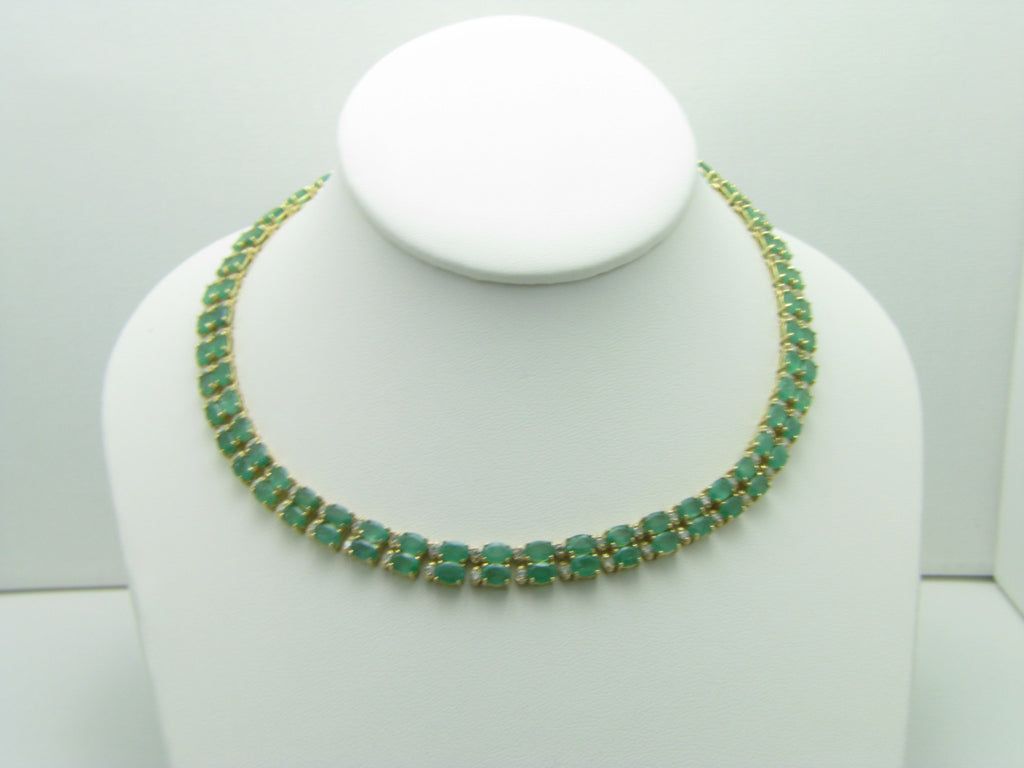 14K Yellow Gold 41.50 ctw Oval Emerald Ladies Choker Necklace with 3.20 ctw Round Diamonds
