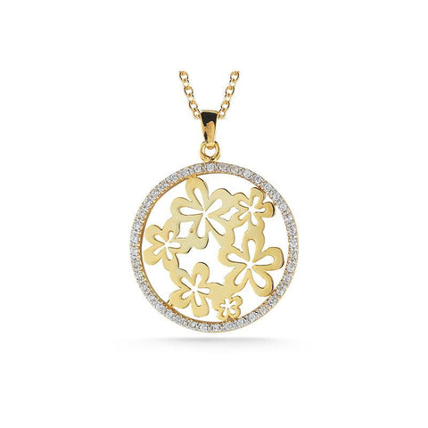 14KY POLISH FINISH PENDANT WITH FLOWER MOTIFS SURROUNDED BY 0.35 CT OF PAVE DIAMONDS