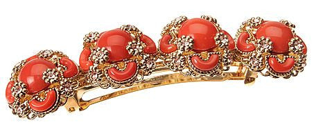 Embellished Regalia Barette Coral/Light Peach/Gold With Swarovski
