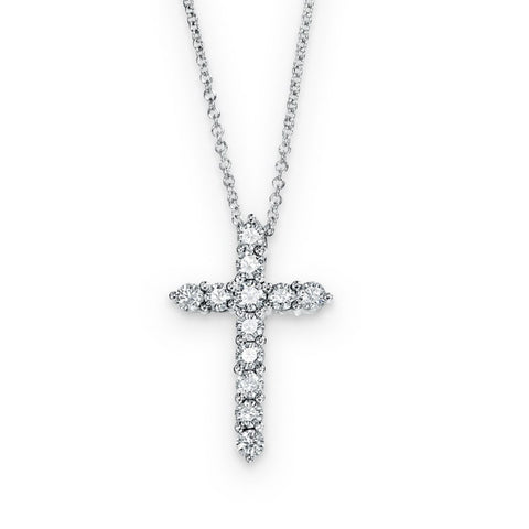 18KW Diamond Cross Pendant 0.55 ctw