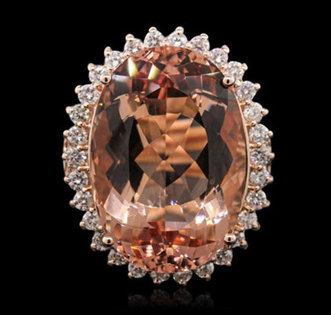 26.36 ct Morganite and .60 ctw Diamond 14K Rose Gold Ladies Ring