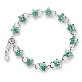 Vitreous Enamel on Sterling Silver Stephanotis Bracelet-Turquoise.