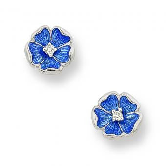 Vitreous Enamel on Sterling Silver Rose Stud Earrings-Blue. Set with Diamonds.