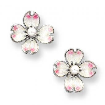 Enamel on Sterling Silver Dogwood Stud Earrings-White. Set with Pinkish Akoya Pearls