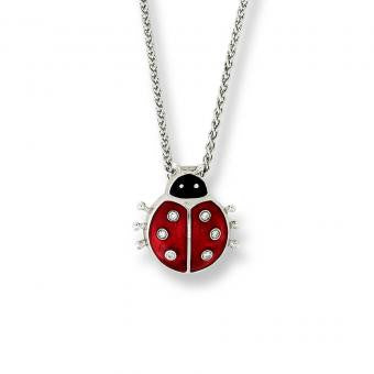 Enamel on Sterling Silver Ladybug Necklace-Red. Set with Diamonds.