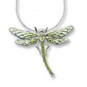Plique-a-Jour Enamel on Sterling Silver Dragonfly Necklace-Green. Set with Diamonds and Peridot.