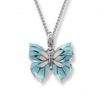 Vitreous Enamel on Sterling Silver Butterfly Necklace -Blue. Set with Diamonds.